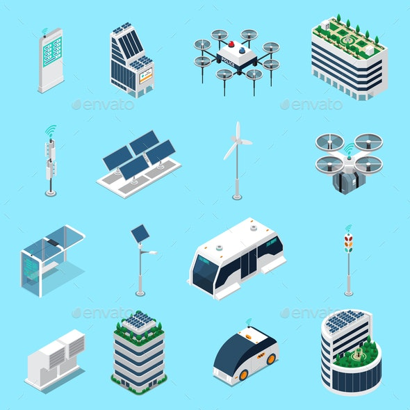 Smart City Isometric Icons Set - Buildings Objects