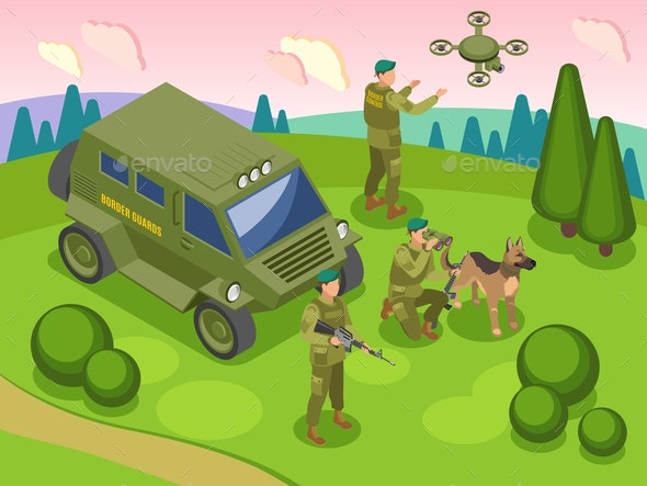 Border Service Isometric Illustration - People Characters