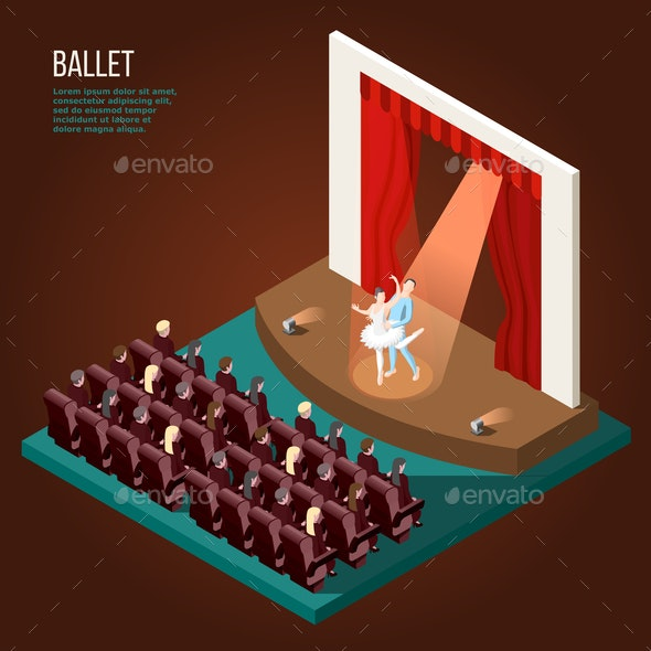 Ballet Isometric Poster - People Characters