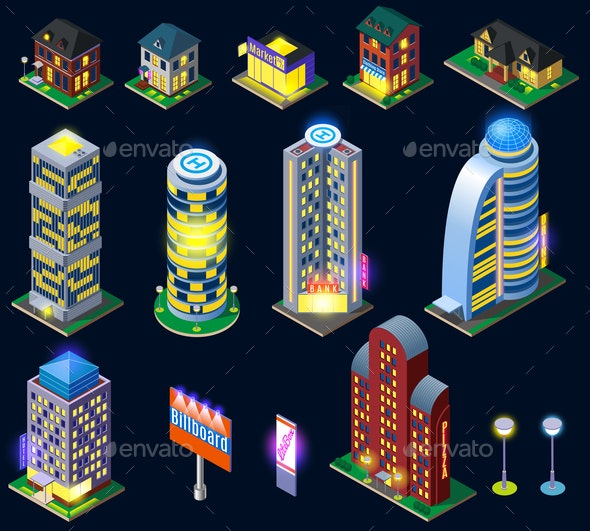Night City Isometric Icons - Buildings Objects