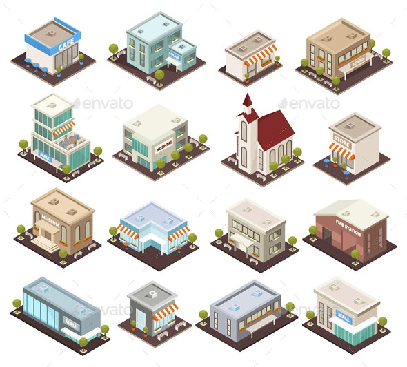 Urban Architecture Isometric Icons - Buildings Objects
