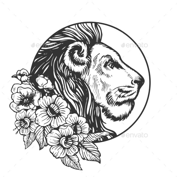 Lion Head Animal Engraving Vector - Miscellaneous Vectors