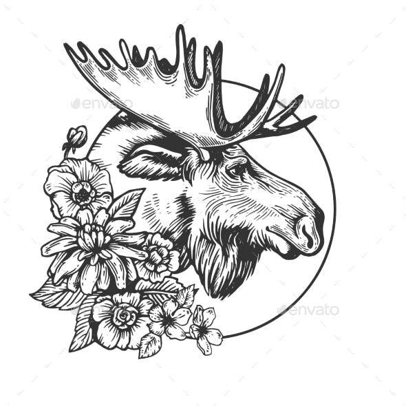 Moose Head Animal Engraving Vector