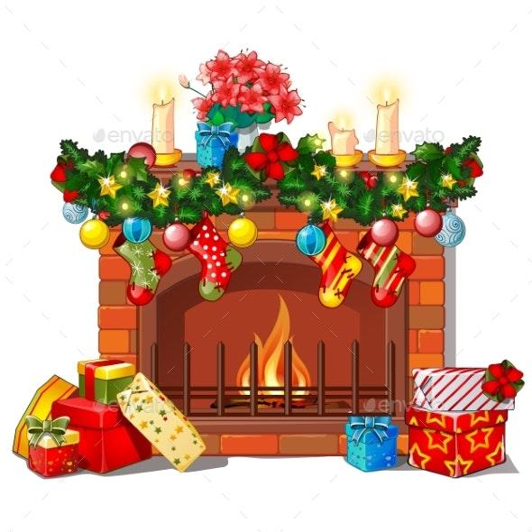 Christmas Sketch with the Fireplace - Christmas Seasons/Holidays