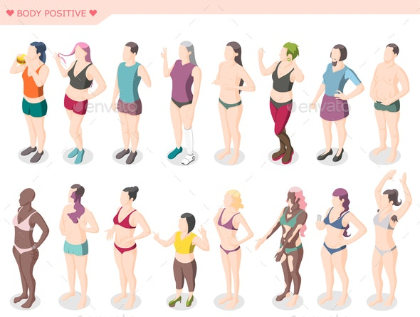 Body Positivity Movement Isometric Set - People Characters