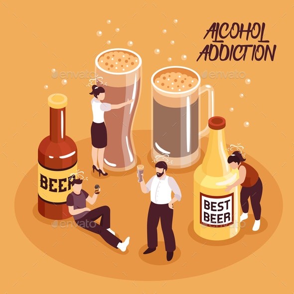 Alcohol Abuse Isometric Illustration - People Characters