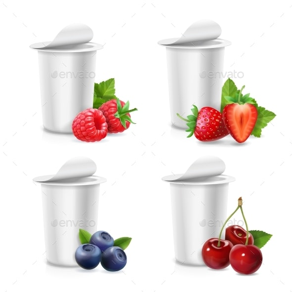 Yogurt Packing Blank Container and Berries - Food Objects