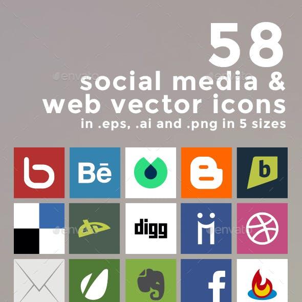 58 Social Media and Web Vector Icons