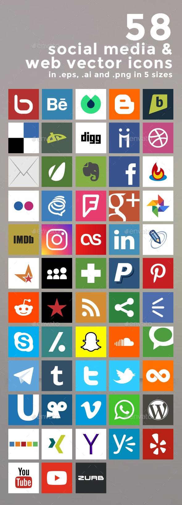 58 Social Media and Web Vector Icons - Web Elements Vectors