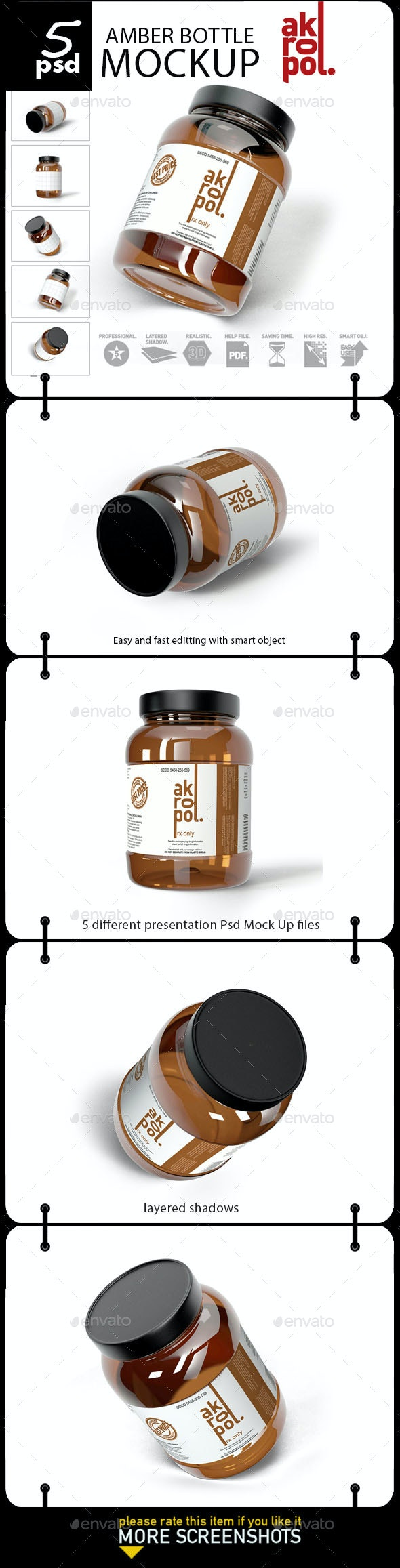Amber Bottle Mock up - Product Mock-Ups Graphics