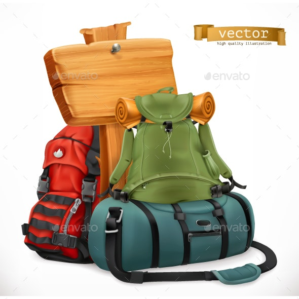Tourist Backpack and Bag - Travel Conceptual