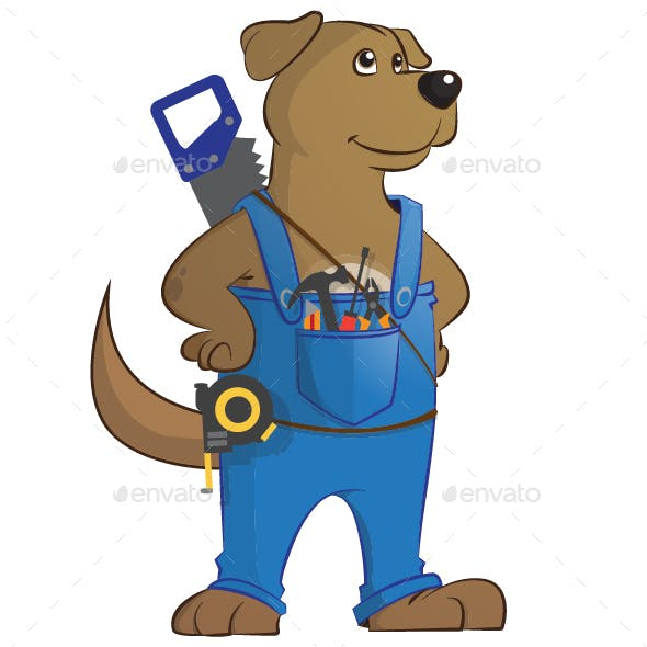 Dog Cartoon Carpenter Worker