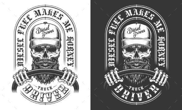 Trucker Emblem with Skull - Decorative Symbols Decorative