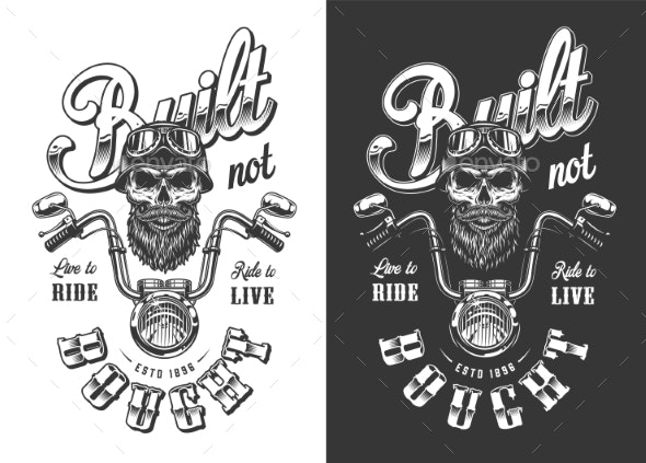 Biker Emblem with Skull - Miscellaneous Vectors