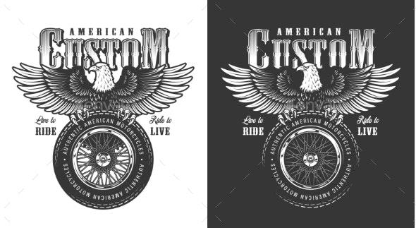 Biker Emblem with Eagle - Miscellaneous Vectors