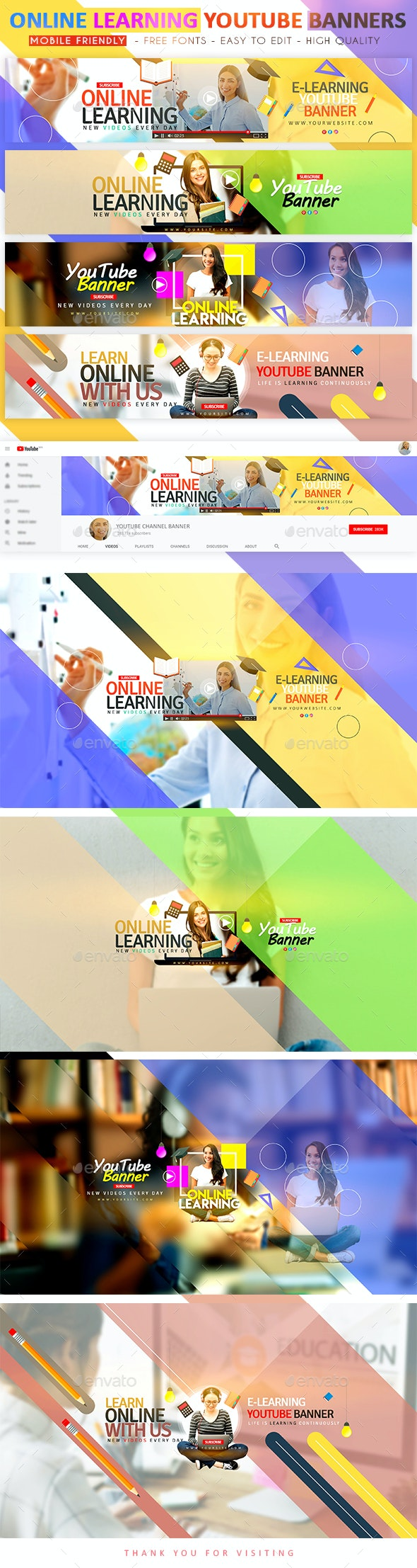 Online Learning YouTube Banners - YouTube Social Media