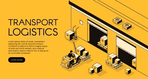 Warehouse Logistics Vector Isometric Illustration - Industries Business