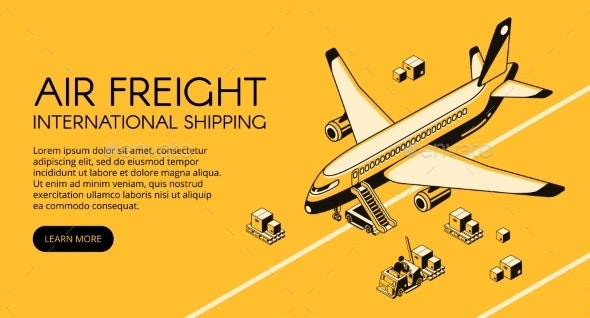 Air Freight Logistics Vector Isometric - Industries Business