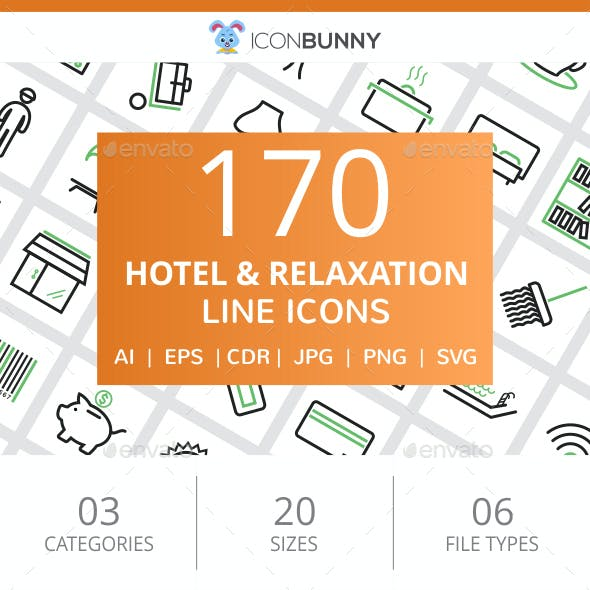 170 Hotel & Relaxation Line Green & Black Icons