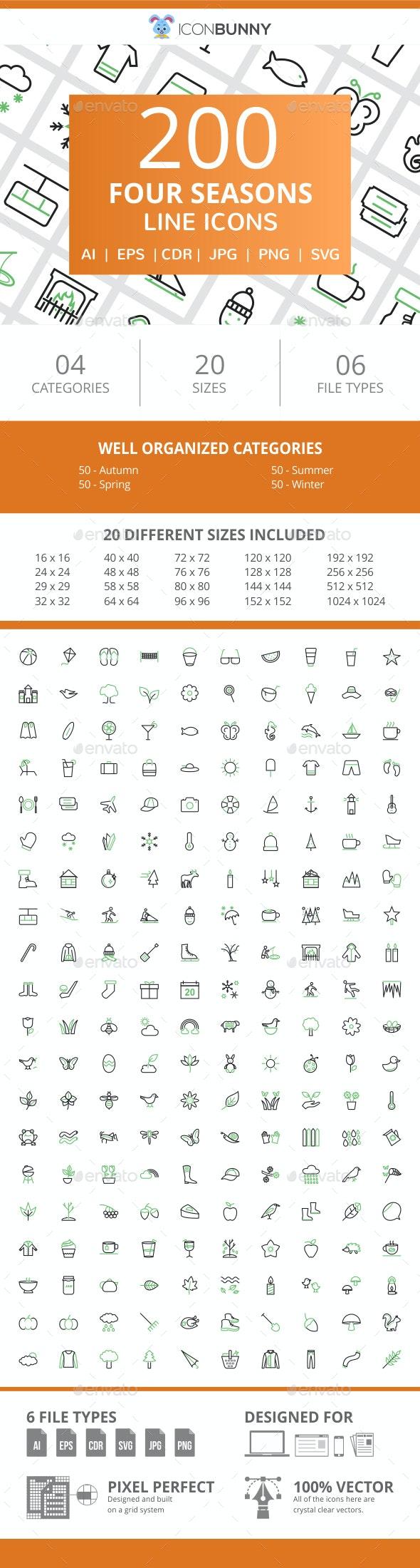 200 Four Seasons Line Green & Black Icons - Icons