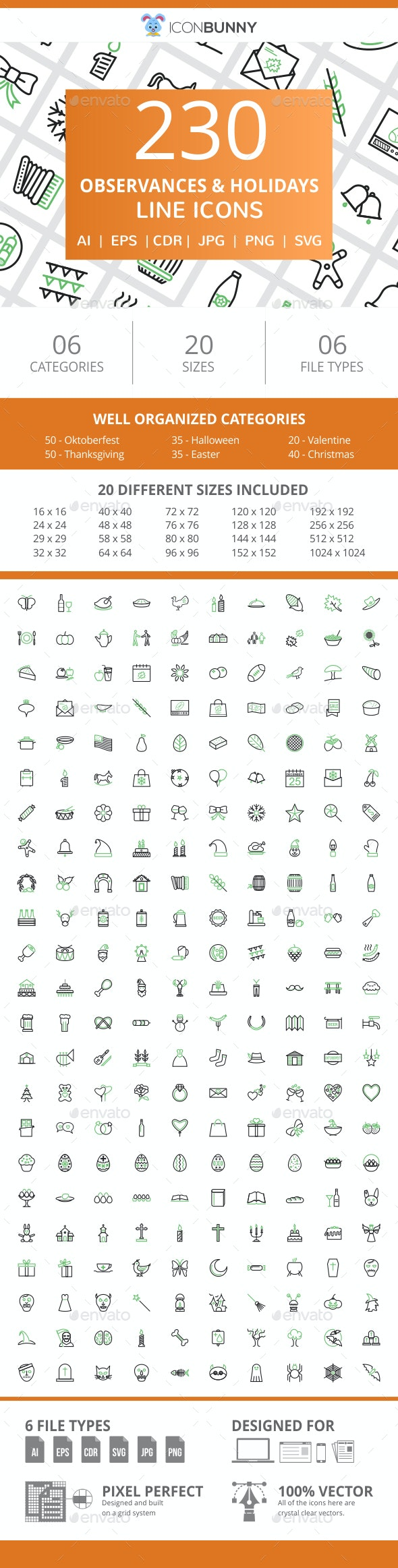 230 Observances & Holiday Line Green & Black Icons - Icons