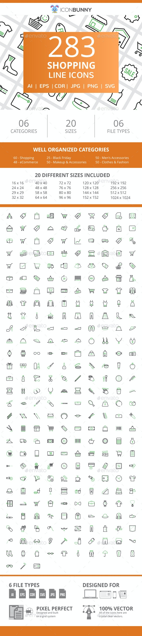 284 Shopping Line Green & Black Icons - Icons