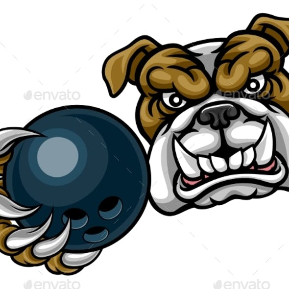Bulldog Dog Holding Bowling Ball Sports Mascot