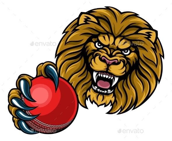 Lion Cricket Ball Sports Mascot - Sports/Activity Conceptual
