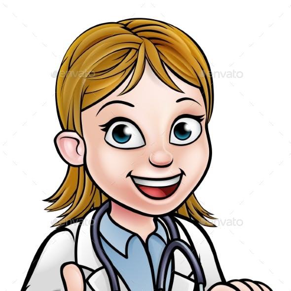 Doctor Cartoon Character Thumbs Up