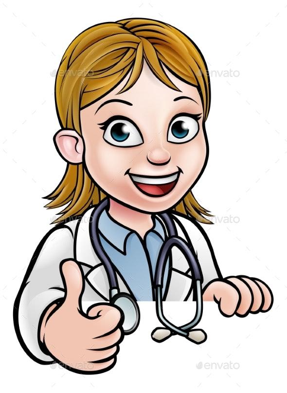 Doctor Cartoon Character Thumbs Up - Health/Medicine Conceptual
