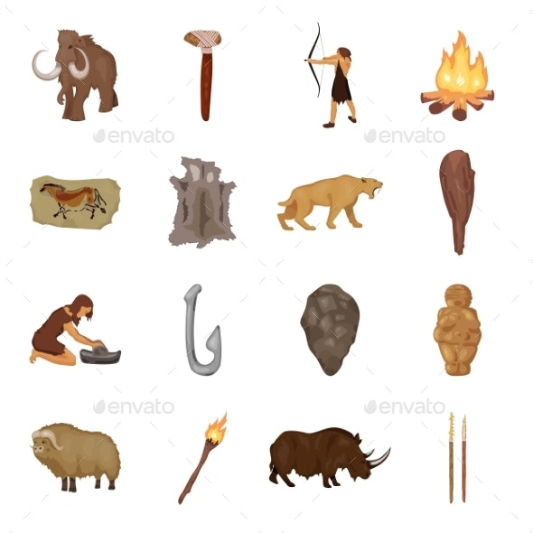 Life in the Stone Age Cartoon Icons in Set - Miscellaneous Vectors