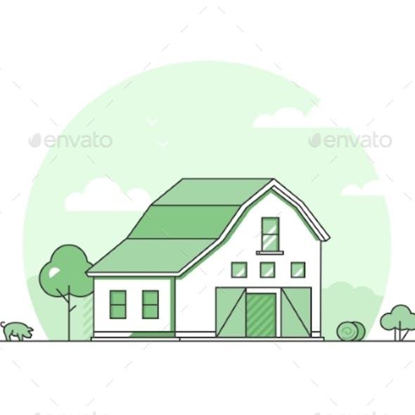Village - Modern Thin Line Design Style Vector