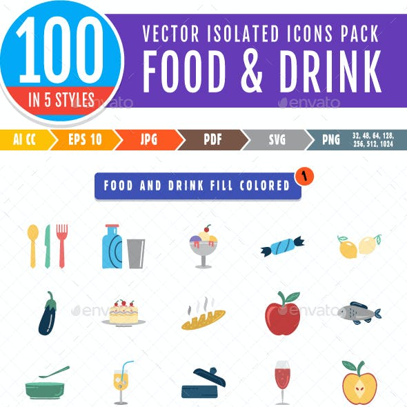 500 Food And Drinks Vector Isolated Icons