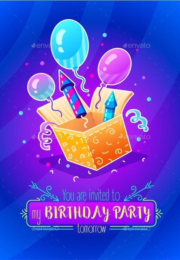 Birthday Party Gift Box with Festive Balloons - Birthdays Seasons/Holidays