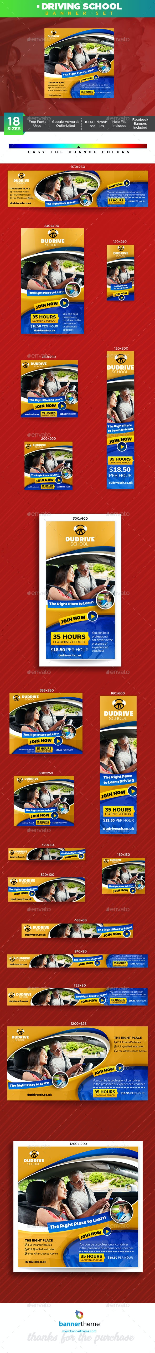 Driving School Banner - Banners & Ads Web Elements