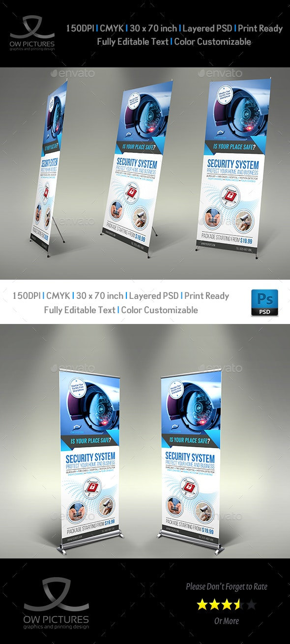 Security System Signage Roll Up Banner Vol.2 - Signage Print Templates