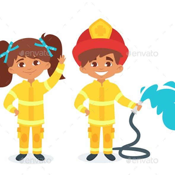 Kids in Firefighter Uniform