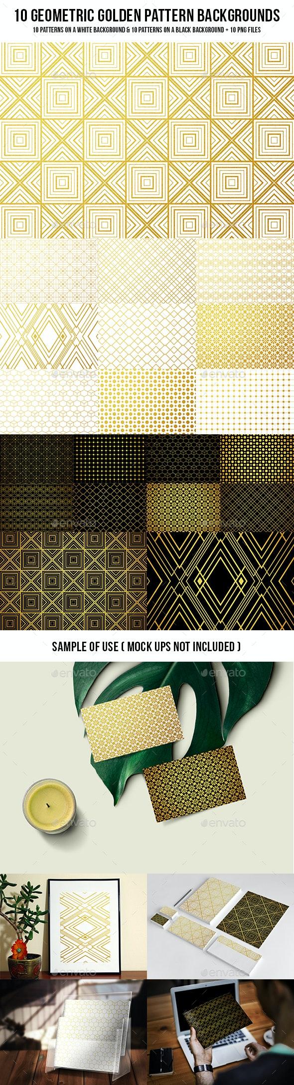 Geometric Golden Pattern Backgrounds - Patterns Backgrounds