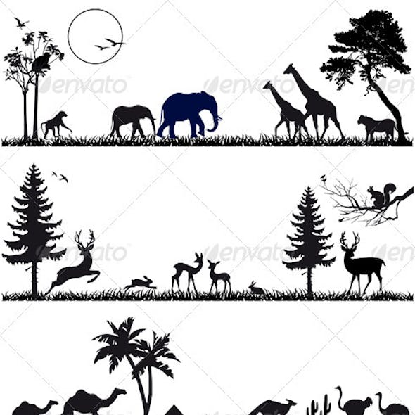 Animal Background Set, Vector