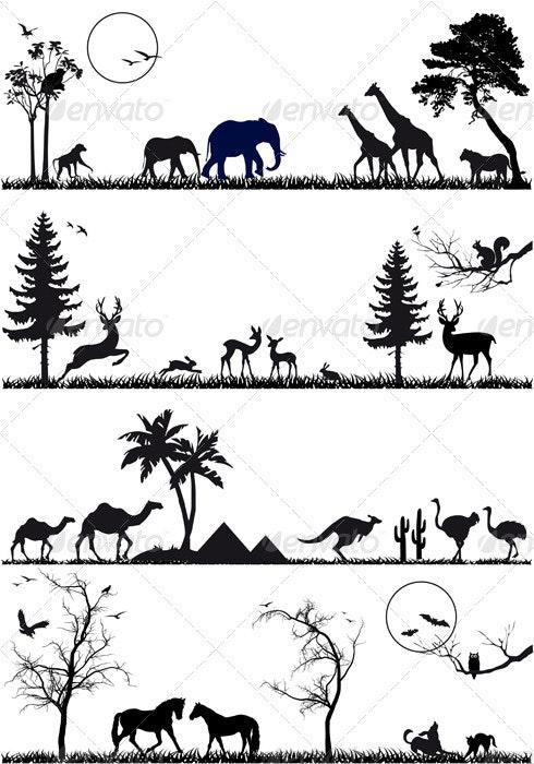 Animal Background Set, Vector - Nature Conceptual