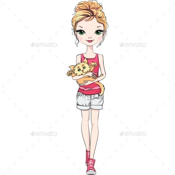 Vector Fashion Girl with Cat - People Characters