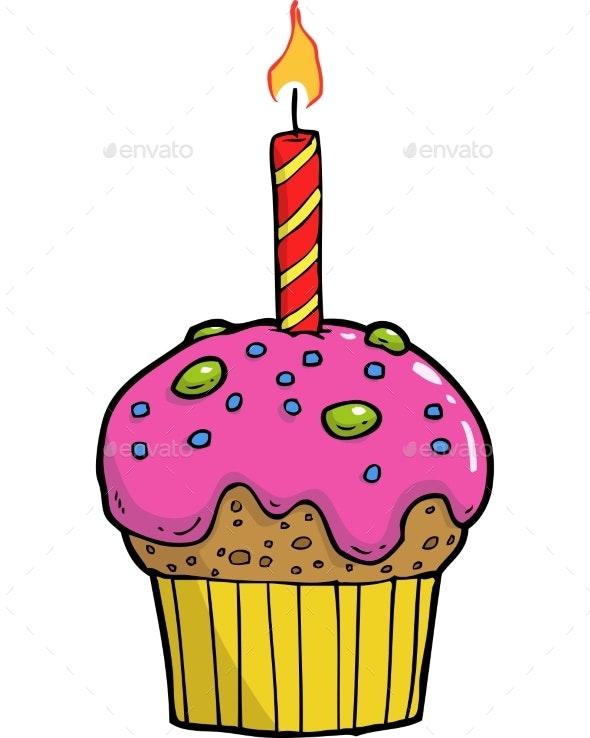 Cake with Candle - Birthdays Seasons/Holidays