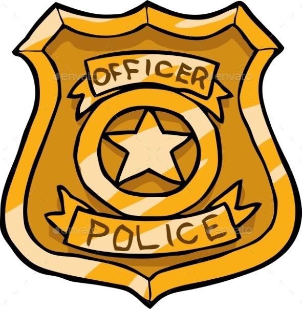 Cartoon Doodle Police Badge - Miscellaneous Vectors