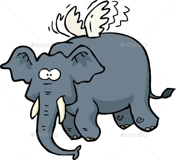Doodle Flying Elephant - Miscellaneous Vectors