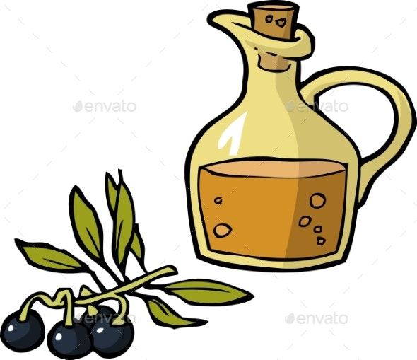 Doodle Olives and a Bottle of Oil - Miscellaneous Vectors