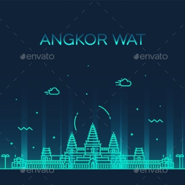 Angkor Wat Skyline Cambodia Vector Linear Style