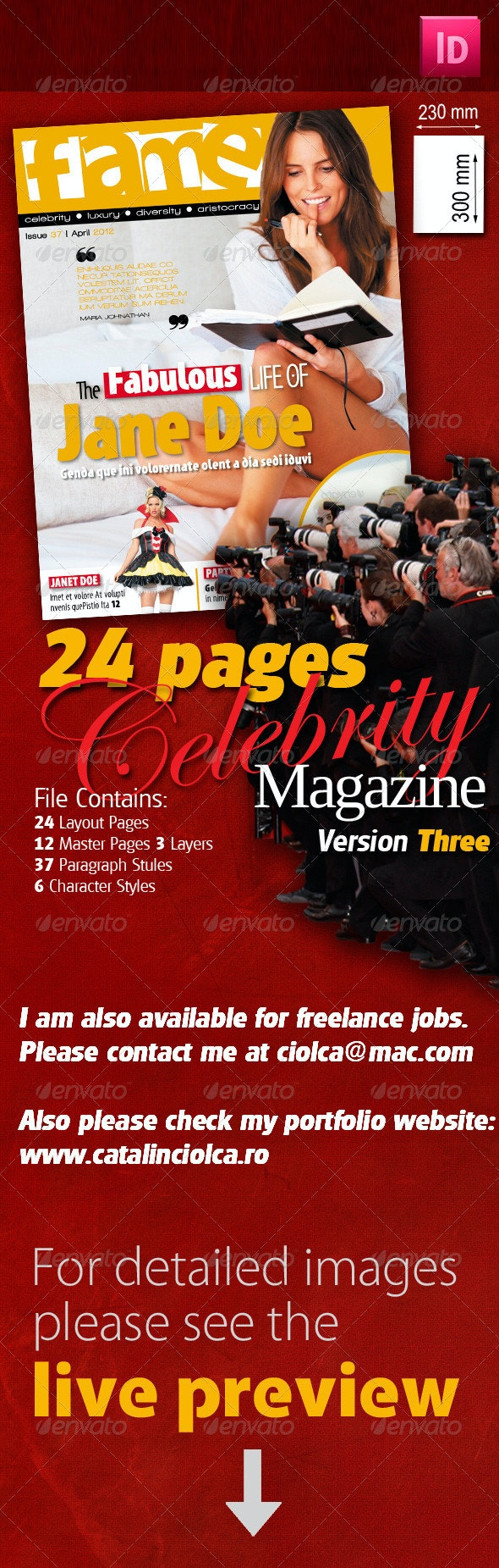 24 Pages Celebrity Magazine Version Three - Magazines Print Templates