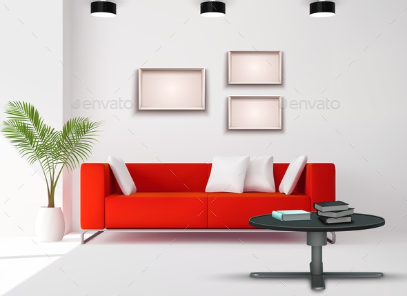 Realistic Interior Image - Objects Vectors