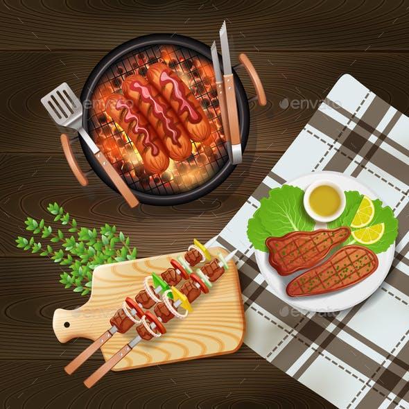 BBQ Grill Realistic Illustration