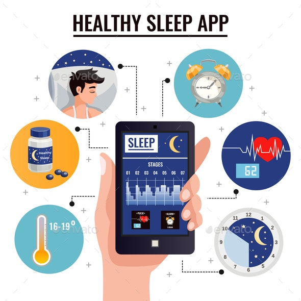 Healthy Sleep App Design Concept - Miscellaneous Vectors